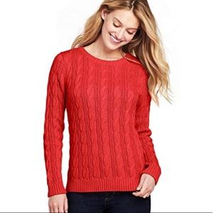 ✂️CHEROKEE Cable Knit Crewneck Sweater - Red Poppy